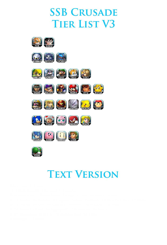 Official v2 Tier List Crusade 0.6 | Super Smash Brothers