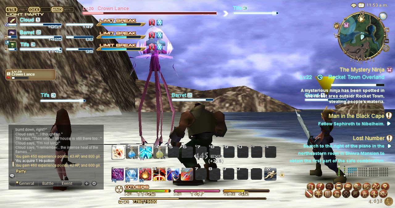 If Final Fantasy 7 had Final Fantasy 14's user interface Topic