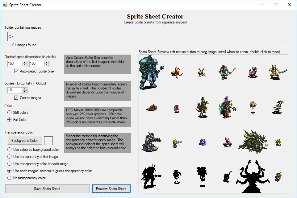 RPG Maker 2003 Utility :: Sprite Sheet Creator :: rpgmaker net